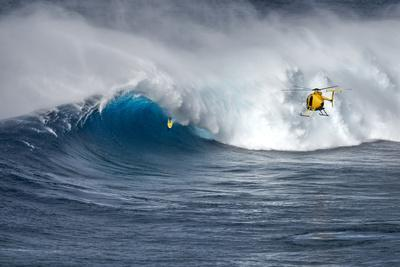 Hawaii Maui. Helicopter Crew Filming Kyle Lenny Surfing Monster Waves at Pe'Ahi Jaws