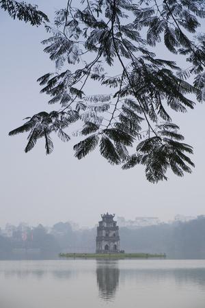 Vietnam, Hanoi. Hoan Kiem Lake and Thap Rua, Turtle Pagoda