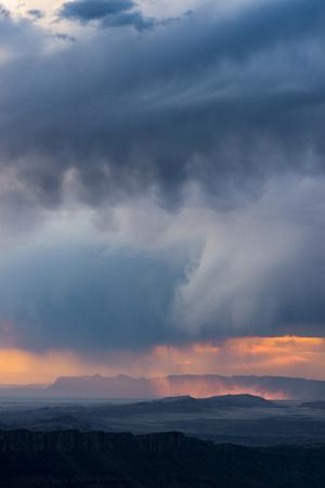 Utah. Storm over the Desert at Sunset from Overlook in the Manti-La Sal National Forest