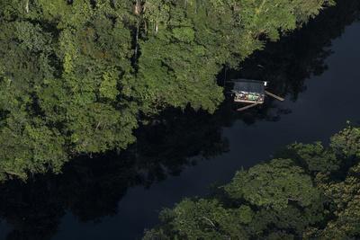Houseboat on River. Potaro-Siparuni Region. Brazil, Guyana Border, Guyana