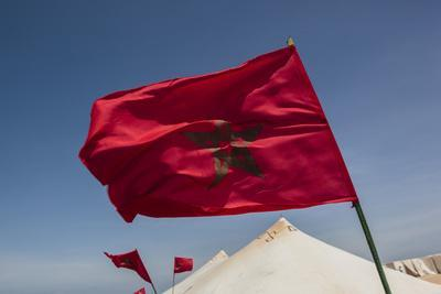 Africa, Western Sahara, Dakhla. the Flag of Morocco Blowing in the Wind
