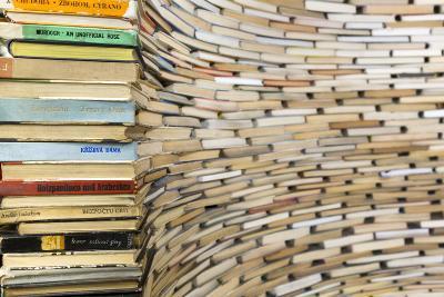 Czech Republic, Prague. Book Sculpture at Prague City Library