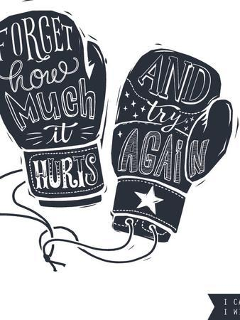 Motivational Quote Hand-Written within Silhouette of Boxing Gloves. Creative Hand Lettering. Persis