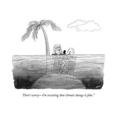 """Don't worry?I'm tweeting that climate change is fake."" - Cartoon"