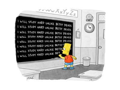 """I will study hard unlike Betsy DeVos."" - Cartoon"