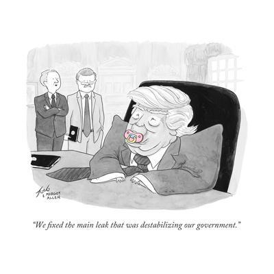 """We fixed the main leak that was destabilizing our government."" - Cartoon"