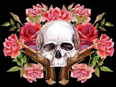 Watercolor Skull with Guns and Roses