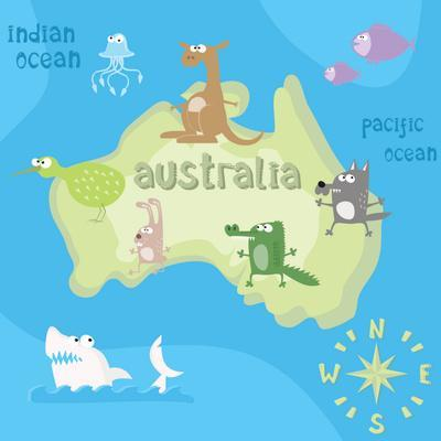 Concept Design Map of Australian Continent with Animals Drawing in Funny Cartoon Style for Kids And