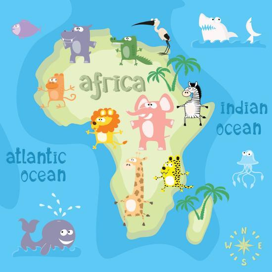 Concept Design Map Of African Continent With Animals Drawing In