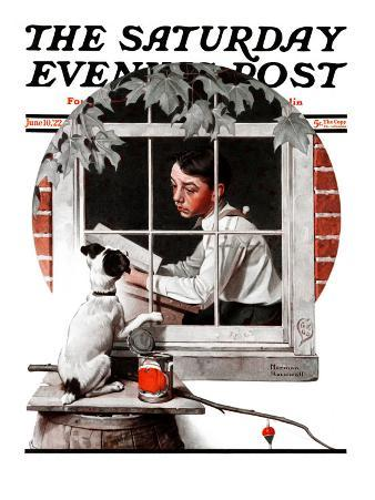 """""""Dog Outside"""" or """"Patient Friend"""" Saturday Evening Post Cover, June 10,1922"""