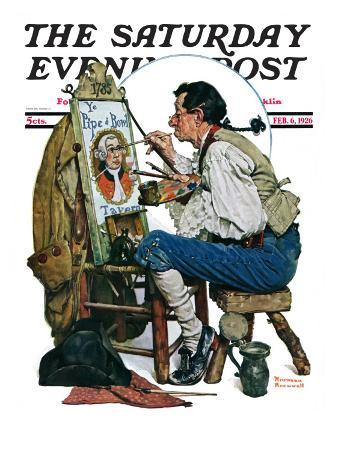"""Colonial Sign Painter"" Saturday Evening Post Cover, February 6,1926"
