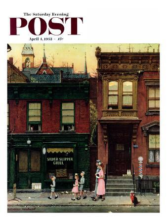 """""""Walking to Church"""" Saturday Evening Post Cover, April 4,1953"""