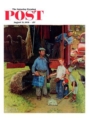 """Construction Crew"" Saturday Evening Post Cover, August 21,1954"