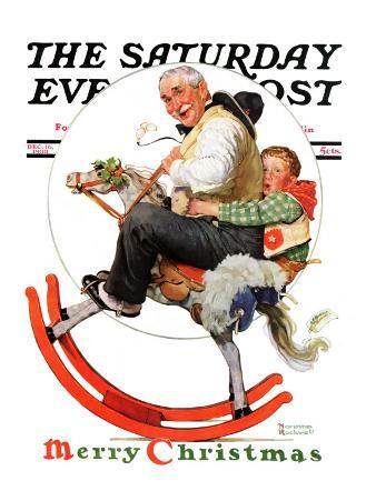 """""""Gramps on Rocking Horse"""" Saturday Evening Post Cover, December 16,1933"""