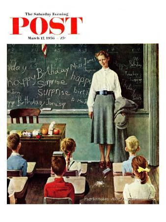 """Happy Birthday, Miss Jones"" Saturday Evening Post Cover, March 17,1956"