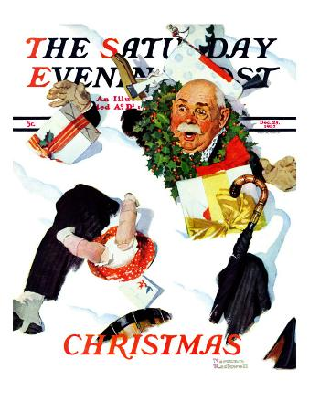 """""""White Christmas"""" Saturday Evening Post Cover, December 25,1937"""