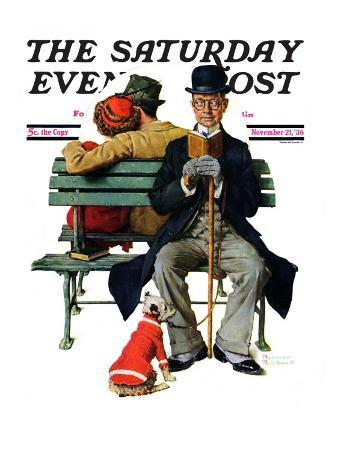 """""""Overheard Lovers"""" (man on park bench) Saturday Evening Post Cover, November 21,1936"""