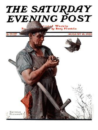 """""""Farmer and the Bird"""" or """"Harvest Time"""" Saturday Evening Post Cover, August 18,1923"""