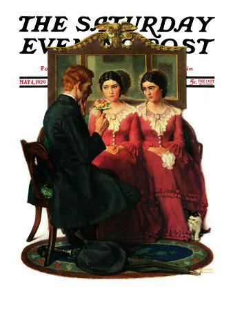 """""""Man Courting Two Sisters"""" Saturday Evening Post Cover, May 4,1929"""