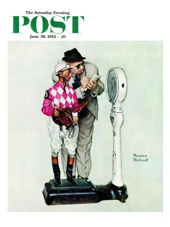"""""""Jockey Weighing In"""" Saturday Evening Post Cover, June 28,1958"""