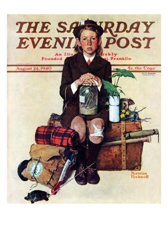 """""""Home from Camp"""" Saturday Evening Post Cover, August 24,1940"""