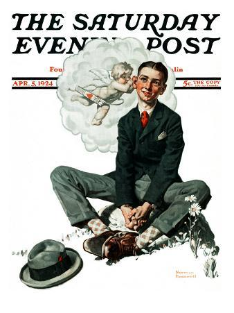 """Cupid's Visit"" Saturday Evening Post Cover, April 5,1924"