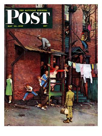 """Homecoming G.I."" Saturday Evening Post Cover, May 26,1945"