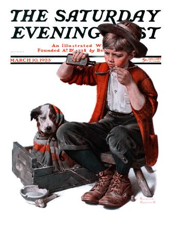 """""""Sick Puppy"""" Saturday Evening Post Cover, March 10,1923"""