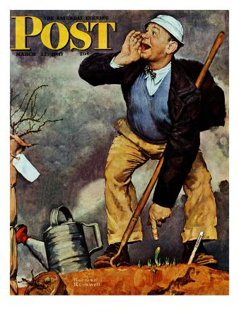 """""""First Flower"""" or """"First Crocus"""" Saturday Evening Post Cover, March 22,1947"""