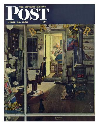 """Shuffleton's Barbershop"" Saturday Evening Post Cover, April 29,1950"