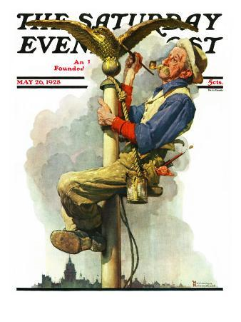 """Gilding the Eagle"" or ""Painting the Flagpole"" Saturday Evening Post Cover, May 26,1928"
