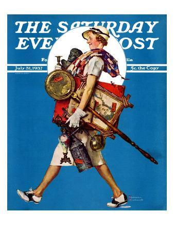 """""""At the Auction"""" or """"Found Treasure"""" Saturday Evening Post Cover, July 31,1937"""