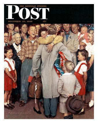 """""""Christmas Homecoming"""" Saturday Evening Post Cover, December 25,1948"""