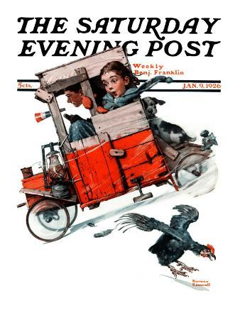 """""""Look Out Below"""" or """"Downhill Daring"""" Saturday Evening Post Cover, January 9,1926"""