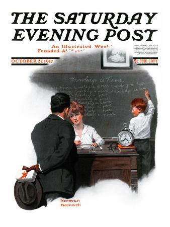 """""""Knowledge is Power"""" Saturday Evening Post Cover, October 27,1917"""
