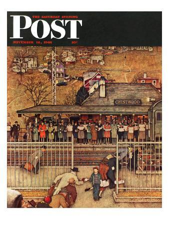 """""""Commuters"""" (waiting at Crestwood train station) Saturday Evening Post Cover, November 16,1946"""