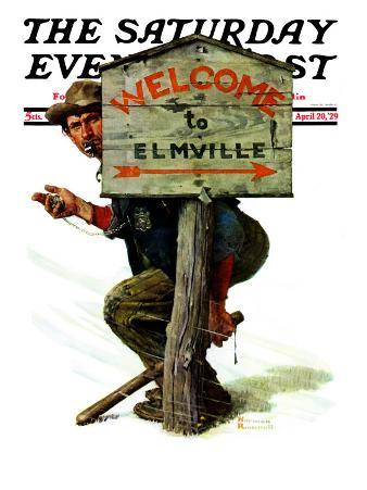 """""""Welcome to Elmville"""" Saturday Evening Post Cover, April 20,1929"""