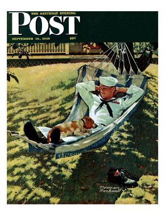 """""""On Leave"""" Saturday Evening Post Cover, September 15,1945"""