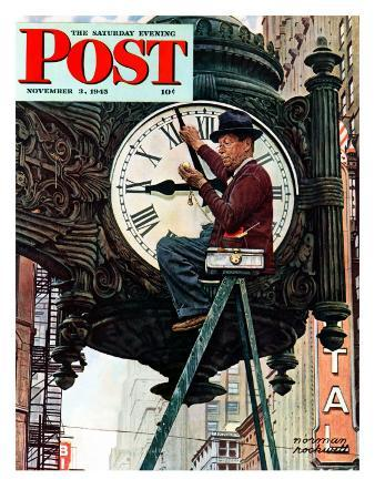 """Clock Repairman"" Saturday Evening Post Cover, November 3,1945"