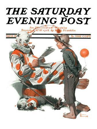 """Circus"" or ""Meeting the Clown"" Saturday Evening Post Cover, May 18,1918"