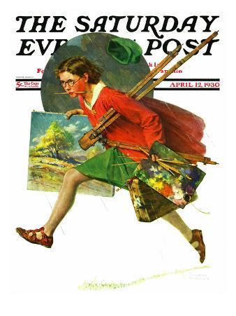 """Wet Paint"" Saturday Evening Post Cover, April 12,1930"