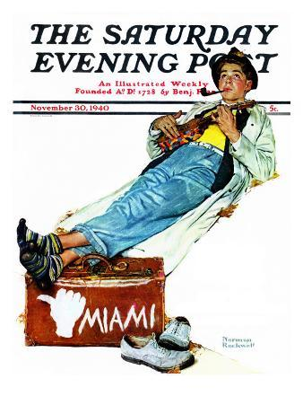"""""""Hitchhiker to Miami"""" Saturday Evening Post Cover, November 30,1940"""