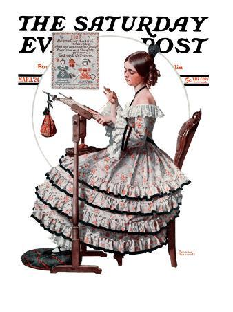 """""""Needlepoint"""" Saturday Evening Post Cover, March 1,1924"""
