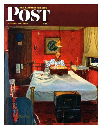 """""""Solitaire"""" Saturday Evening Post Cover, August 19,1950"""