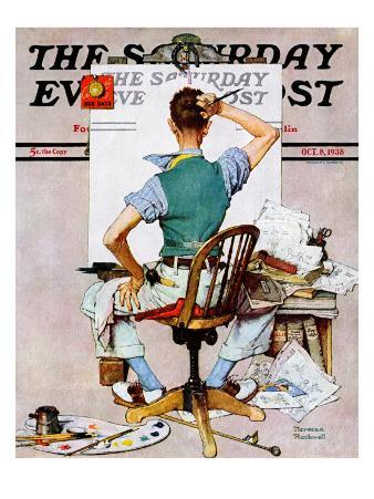 """""""Blank Canvas"""" Saturday Evening Post Cover, October 8,1938"""
