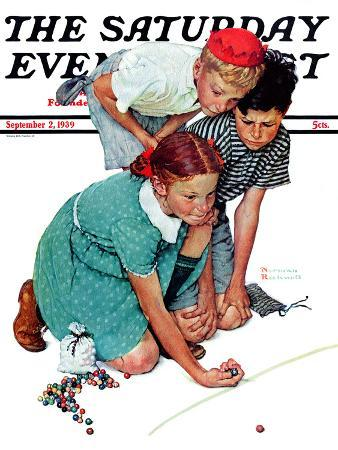 """""""Marble Champion"""" or """"Marbles Champ"""" Saturday Evening Post Cover, September 2,1939"""