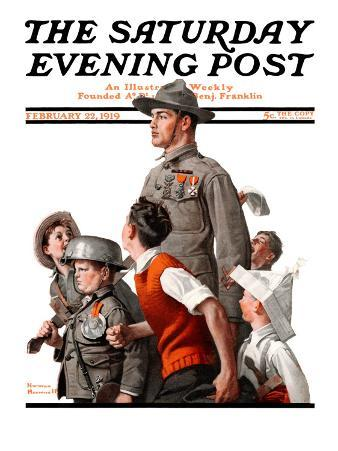 """""""When Johnny Comes Marching Home"""" Saturday Evening Post Cover, February 22,1919"""