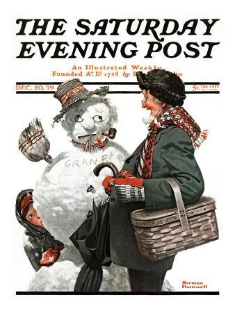 """Gramps and the Snowman"" Saturday Evening Post Cover, December 20,1919"