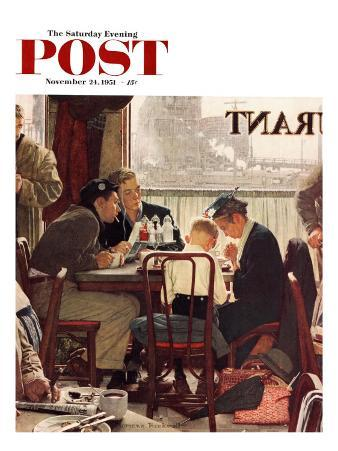 """""""Saying Grace"""" Saturday Evening Post Cover, November 24,1951"""
