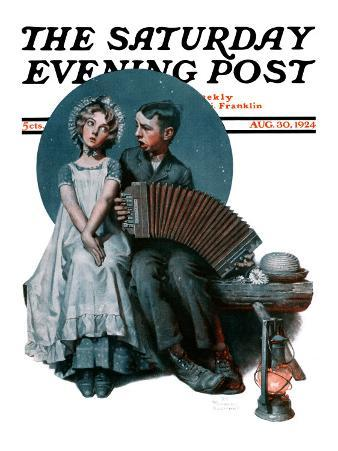 """""""Accordionist"""" or """"Serenade"""" Saturday Evening Post Cover, August 30,1924"""